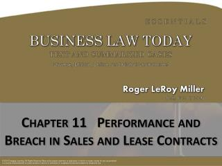 Chapter  11   Performance and Breach in Sales and Lease Contracts