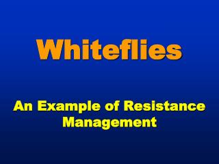 Whiteflies An  Example of Resistance Management