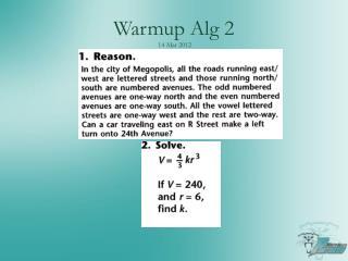 Warmup Alg 2 14 Mar  2012