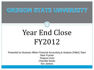 Year End Close  FY2012