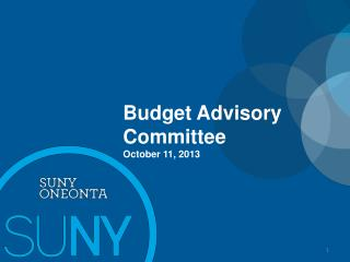 Budget Advisory Committee October 11, 2013