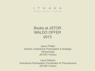 Books at JSTOR WALDO OFFER 2013