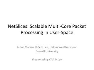 NetSlices : Scalable Multi-Core Packet Processing in User-Space