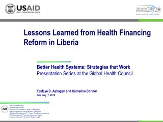 Lessons Learned from Health Financing Reform in Liberia
