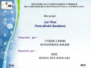 MINISTERE DE L'ENSEIGNEMENT SUPERIEUR DE LA RECHERCHE SCIENTIFIQUE ET DE LA TECHNOLOGIE