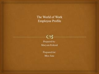 The World of  Work Employee Profile