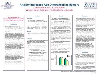 Anxiety Increases Age Differences in Memory Jane Student and Dr. Julie Earles