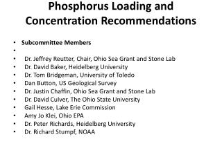 Phosphorus Loading and Concentration Recommendations