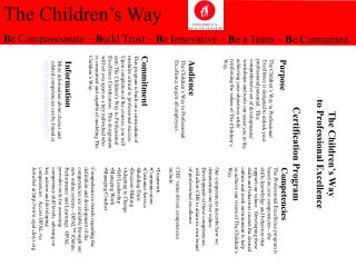 The Children s Way to Professional Excellence  Certification Program