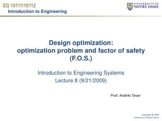 Design optimization: optimization problem and factor of safety (F.O.S.)