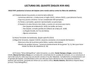 LECTURAS DEL  QUIJOTE  (SIGLOS XVII-XXI)