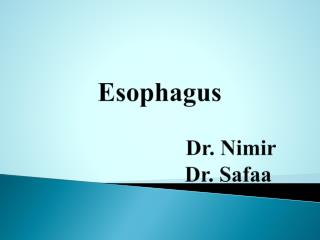 Esophagus                           Dr.  Nimir                         Dr.  Safaa