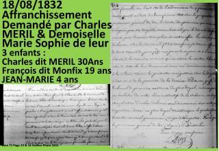 18/08/1832 Affranchissement Demandé par Charles
