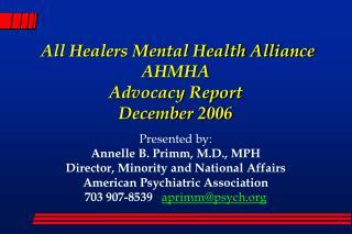 All Healers Mental Health Alliance AHMHA Advocacy Report December 2006