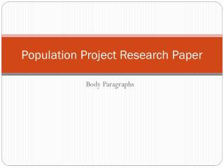 Population Project Research Paper