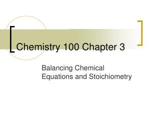 Chemistry 100 Chapter 3