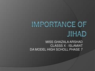 Importance of jihad