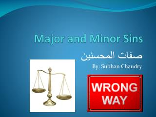 Major and Minor Sins