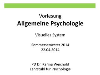 Vorlesung Allgemeine Psychologie Visuelles System Sommersemester 2014 22.04.2014