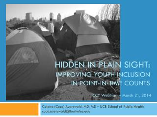Hidden in Plain Sight: IMPROVING Youth inclusion in point-in-time counts