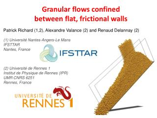 Granular flows confined between flat, frictional walls