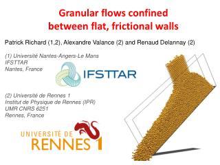 Granular flows confined between flat, frictional walls