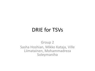 DRIE for TSVs