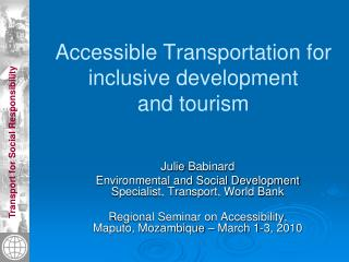 Accessible Transportation for inclusive development and tourism