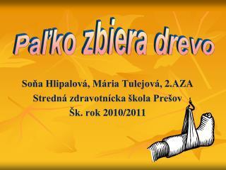 Soňa  Hlipalová , Mária  Tulejová , 2.AZA Stredná zdravotnícka škola Prešov Šk. rok 2010/2011