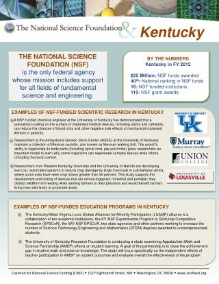 BY THE NUMBERS Kentucky  in FY  2012 $25  Million:  NSF funds awarded