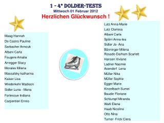 1 - 4* Dolder-Tests Mittwoch 01 Februar 2012 Herzlichen Glückwunsch !