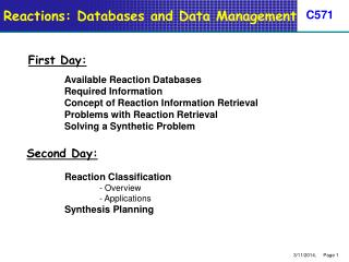 Reactions: Databases and Data Management