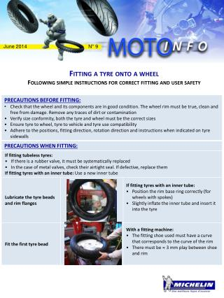 Fitting  a  tyre  onto a wheel Following simple instructions for correct fitting and user safety