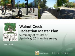 Walnut Creek  Pedestrian Master Plan Summary of  results of April–May  2014 online  survey