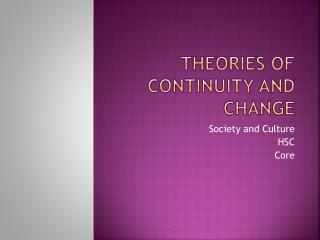 Theories of Continuity and Change