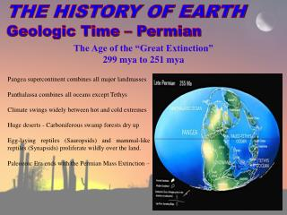 "The Age of the ""Great Extinction"" 299 mya to 251 mya"