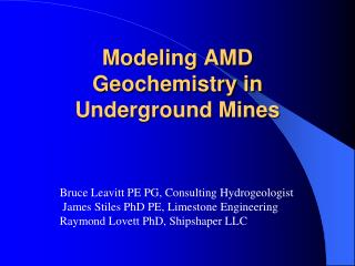 Modeling AMD Geochemistry in Underground Mines