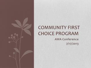 Community First Choice Program