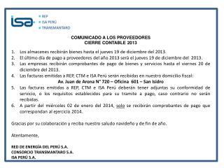 COMUNICADO A LOS PROVEEDORES CIERRE CONTABLE 2013