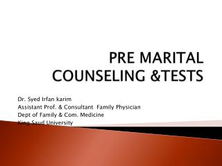 PRE MARITAL COUNSELING &TESTS