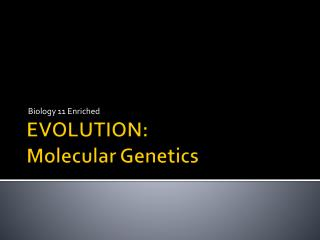 EVOLUTION: Molecular Genetics