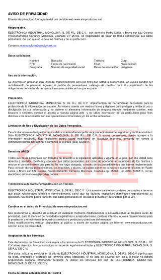 AVISO DE PRIVACIDAD El aviso de privacidad forma parte del uso del sitio web eimproductos