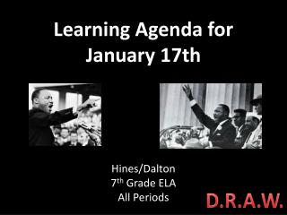 Learning Agenda for January 17th