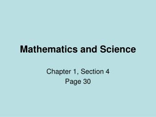 Mathematics and Science