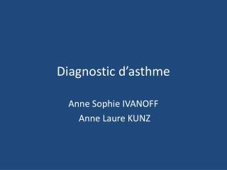 Diagnostic d'asthme