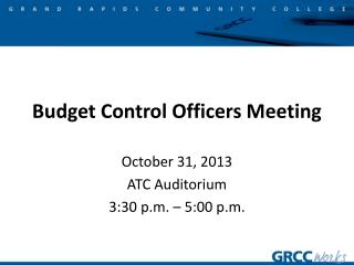 Budget Control Officers Meeting