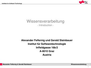 Wissensverarbeitung -  Introduction  -