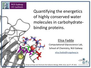 Quantifying the energetics of highly conserved water molecules in carbohydrate-binding proteins.
