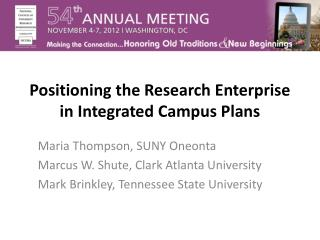 Positioning the Research Enterprise in Integrated Campus Plans