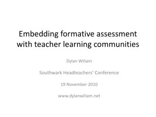 Embedding formative assessment with teacher learning communities